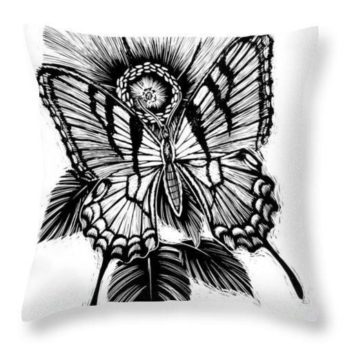 Butterfly Throw Pillow featuring the drawing Butterfly and Flower by Jim Harris