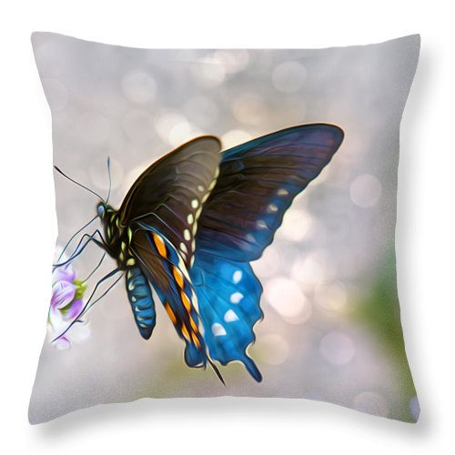 Butterfly Throw Pillow featuring the photograph Butterfly Bokeh by Bill Tiepelman