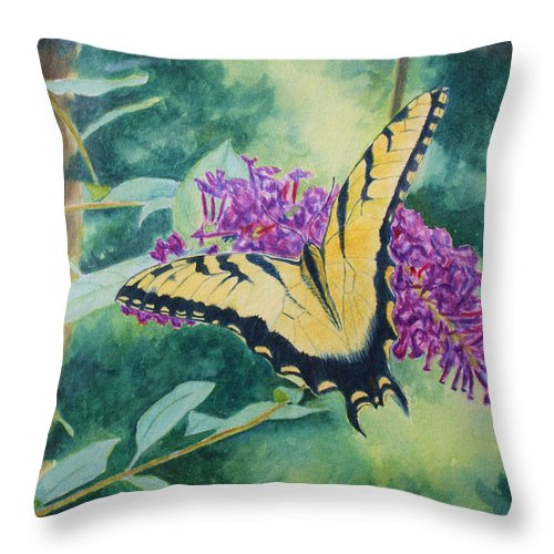 Butterfly Throw Pillow featuring the painting Butterfly Bush by Jill Ciccone Pike
