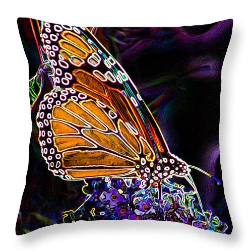 Butterfly Garden Throw Pillow featuring the digital art Butterfly Garden 24 - Monarch by E B Schmidt