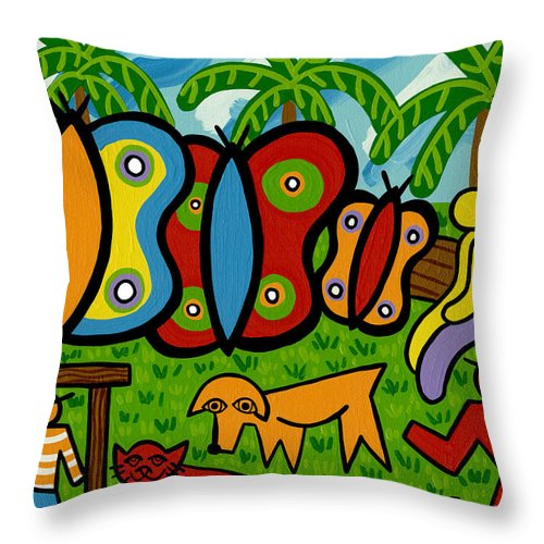 Butterfly Throw Pillow featuring the painting Butterfly Garden by Mike Segal