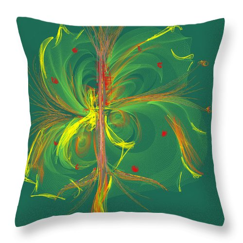 Ipad Throw Pillow featuring the painting Butterfly In Green by Angela Stanton