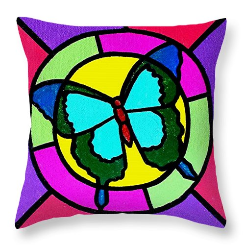 Butterfly Throw Pillow featuring the painting Butterfly in the Sun by Jim Harris