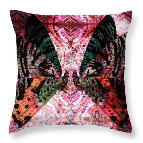 Butterfly Throw Pillow featuring the digital art Butterfly Kaleidoscope by Kyle Hanson