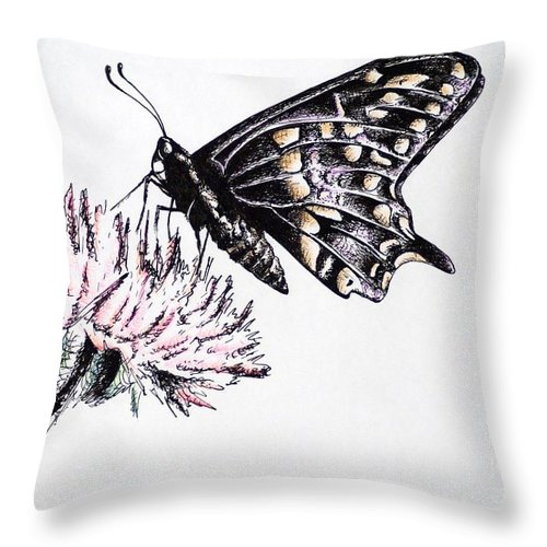 Butterfly Throw Pillow featuring the drawing Butterfly by Katharina Filus