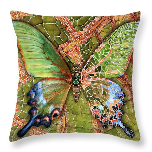 Butterfly Throw Pillow featuring the painting Butterfly Mosaic 03 Elena Yakubovich by Elena Yakubovich