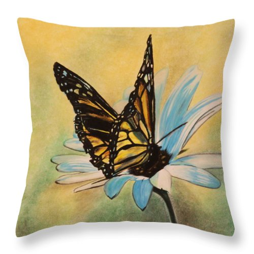 Butterly Throw Pillow featuring the drawing Butterfly On Flower by Michelle Miron-Rebbe