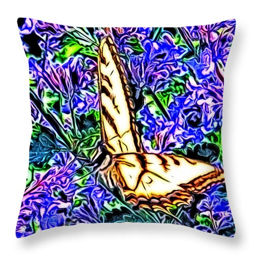 Butterfly Throw Pillow featuring the digital art Butterfly With Purple Flowers 2 by April Patterson