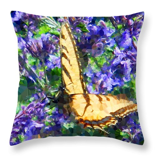 Butterfly Throw Pillow featuring the digital art Butterfly With Purple Flowers 3 by April Patterson