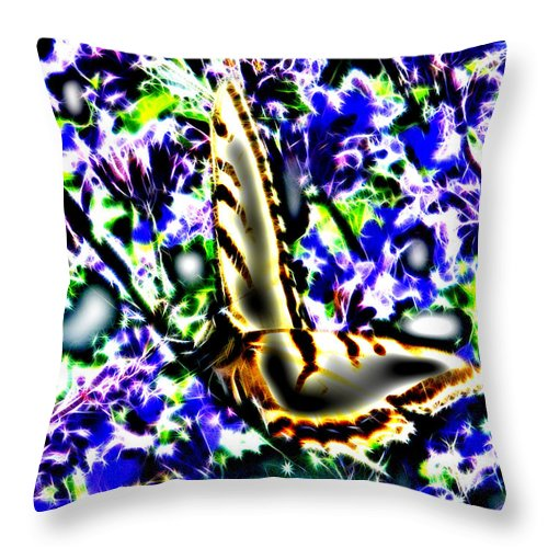 Butterfly Throw Pillow featuring the digital art Butterfly With Purple Flowers 4 by April Patterson
