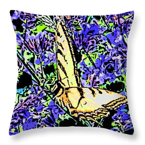 Butterfly Throw Pillow featuring the digital art Butterfly With Purple Flowers by April Patterson