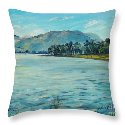 Buttermere Throw Pillow featuring the painting Buttermere Haystacks And Beyond by Sheila Vickers
