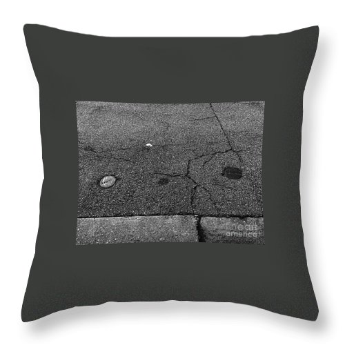 Black And White Photography Throw Pillow featuring the photograph Buttons On The Concrete by Fei A