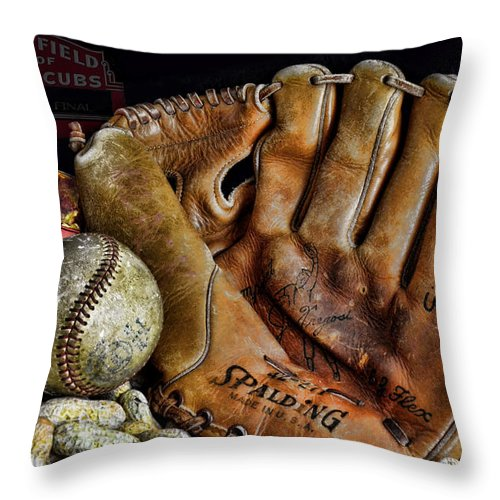Baseball Throw Pillow featuring the photograph Buy Me Some Peanuts And Cracker Jacks by Ken Smith