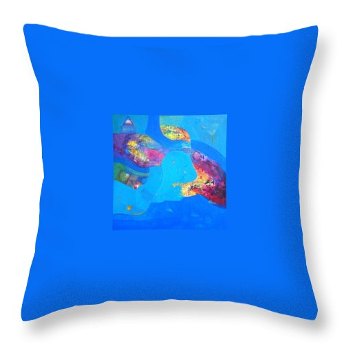 Throw Pillow featuring the painting buyer alejendra USA by Sanjay Punekar