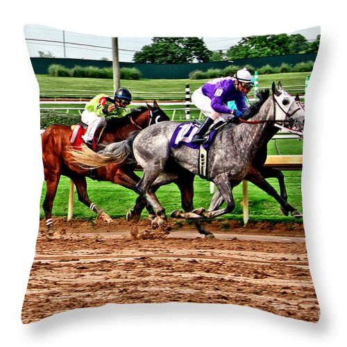 Horse Racing Throw Pillow featuring the photograph By A Nose 025mx by Earl Johnson