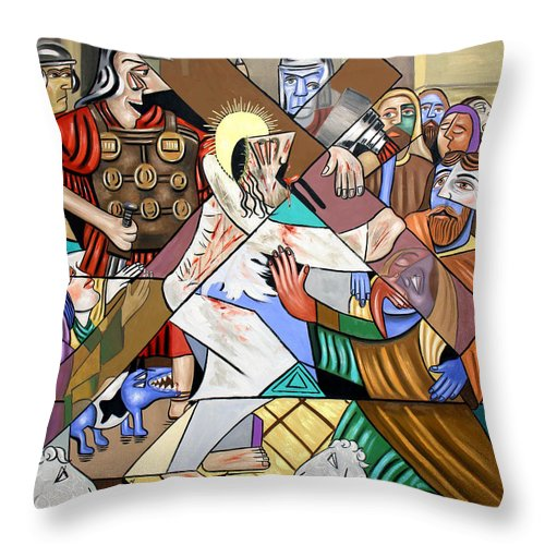 My Wounds You Were Healed Throw Pillow featuring the painting By My Wounds You Were Healed by Anthony Falbo