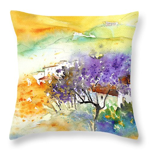 Watercolour Throw Pillow featuring the painting By Teruel Spain 01 by Miki De Goodaboom