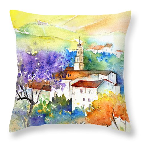 Travel Throw Pillow featuring the painting By Teruel Spain 02 by Miki De Goodaboom