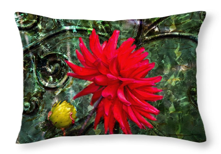 Red Dahlia Throw Pillow featuring the photograph By The Garden Gate - Red Dahlia by Marie Jamieson