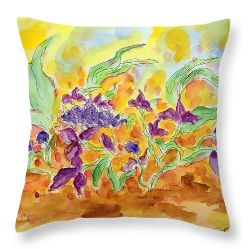 Throw Pillow featuring the painting By The Garden IIi by Nicolas Segoviano