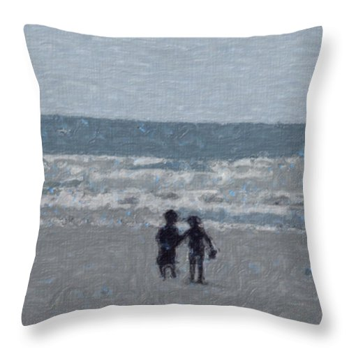 Fun Throw Pillow featuring the painting By The Ocean by Sergey Bezhinets