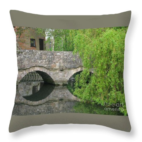 England Throw Pillow featuring the photograph By The Old Mill Stream by Ann Horn