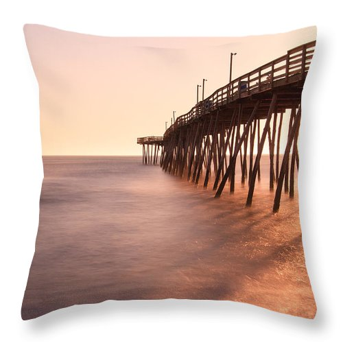 Seascape Throw Pillow featuring the photograph Avalon Fishing Pier by Rob Narwid