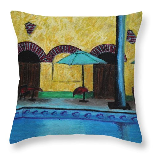 Hotel Throw Pillow featuring the painting By The Poolside by Jeanne Fischer