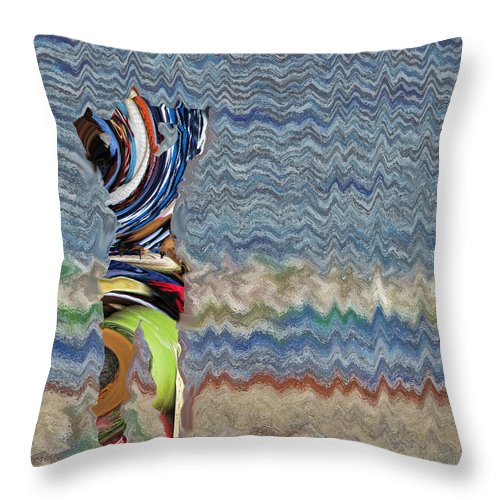 Abstract Throw Pillow featuring the digital art By The Sea by John Saunders