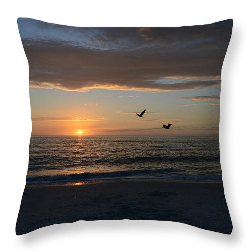 Sunset Throw Pillow featuring the photograph By The Sea by Melanie Moraga