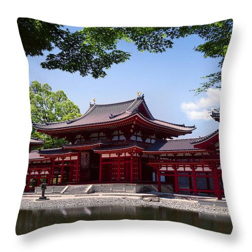 Byodoin Throw Pillow featuring the photograph Byodoin Temple - Kyoto Japan by Daniel Hagerman