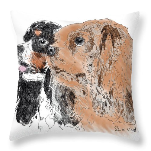 King Charles Spaniels Throw Pillow featuring the drawing Byrne by Shawn Vincelette