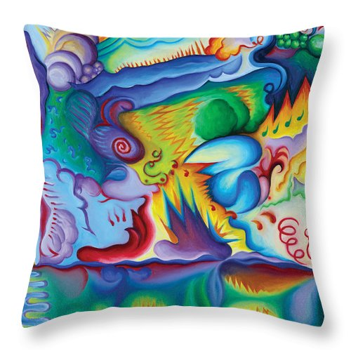 Art Throw Pillow featuring the painting Byron Bird Orchestration by Tiffany Davis-Rustam