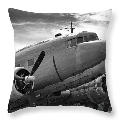 Aviation Throw Pillow featuring the photograph C-47 Skytrain by Guy Whiteley