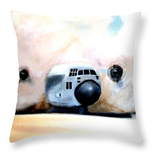 C130 Throw Pillow featuring the painting C130 Landing In A Sandstorm Air Force Military by Katy Hawk