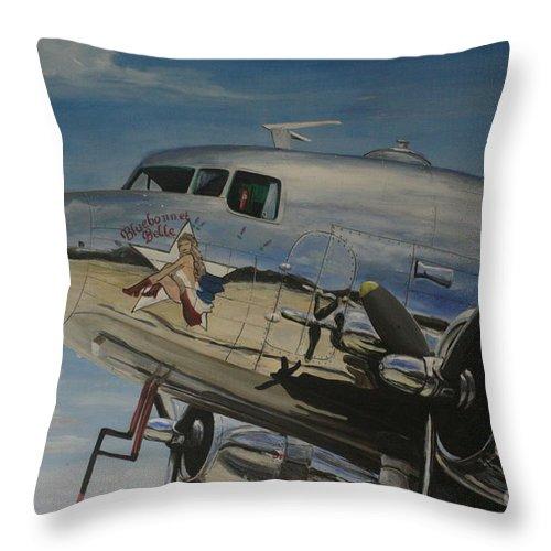 Warbirds Throw Pillow featuring the painting C47b Skytrain Bluebonnet Belle Warbird 1944 by Richard John Holden RA