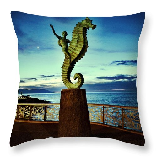 Caballeo Del Mar Throw Pillow featuring the photograph Caballeo Del Mar by Natasha Marco