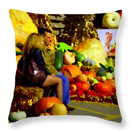 Markets Throw Pillow featuring the painting Cabbage Patch Kids - Giant Pumpkins - Marche Atwater Montreal Market Scene Art Carole Spandau by Carole Spandau