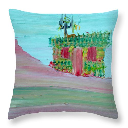 Cabin Throw Pillow featuring the painting Cabin by Fabrizio Cassetta