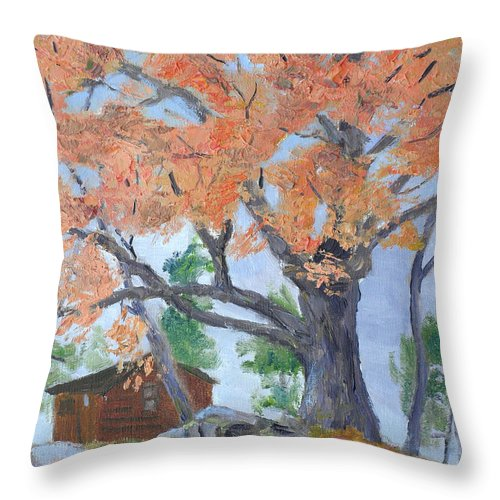 1000 Islands Region Throw Pillow featuring the painting Cabin Number 7 by Robert P Hedden