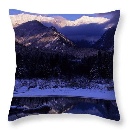Winter Landscape Throw Pillow featuring the photograph Cabinet Mountain Winter by Randy Beacham