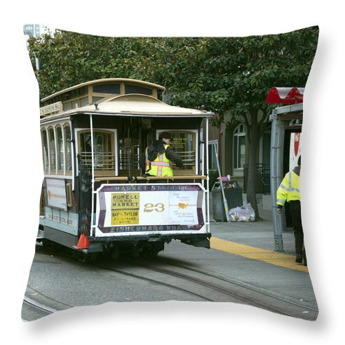 Photograph Throw Pillow featuring the photograph Cable Car At Fisherman's Wharf by Christopher Winkler