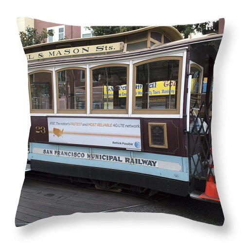 Photograph Throw Pillow featuring the photograph Cable Car Turn-around At Fisherman's Wharf by Christopher Winkler