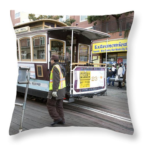 Photograph Throw Pillow featuring the photograph Cable Car Turn Around Fisherman's Wharf by Christopher Winkler