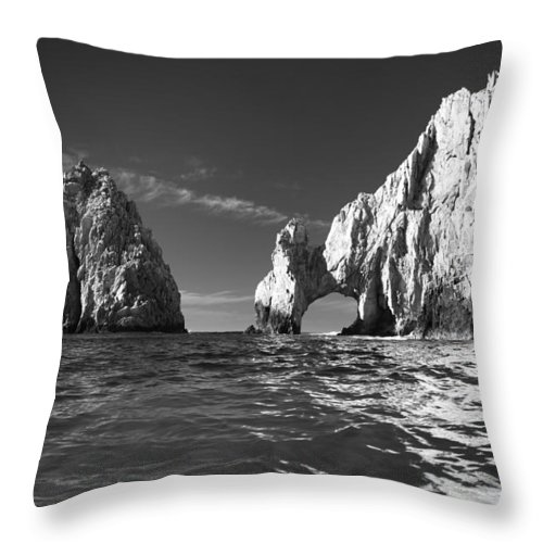 Los Cabos Throw Pillow featuring the photograph Cabo In Black And White by Sebastian Musial