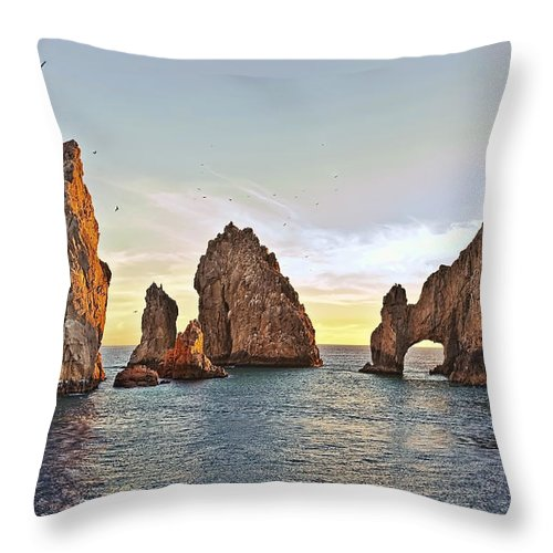 Landscape Throw Pillow featuring the photograph Cabo San Lucas Arch Sunset by Marcia Colelli