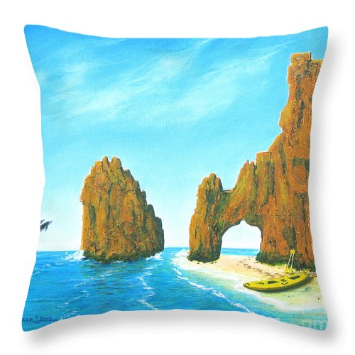 Cabo San Lucas Throw Pillow featuring the painting Cabo San Lucas Mexico by Jerome Stumphauzer
