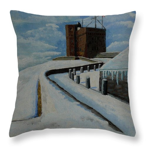 Landscape Throw Pillow featuring the painting Cabot Tower Newfoundland by Anthony Dunphy