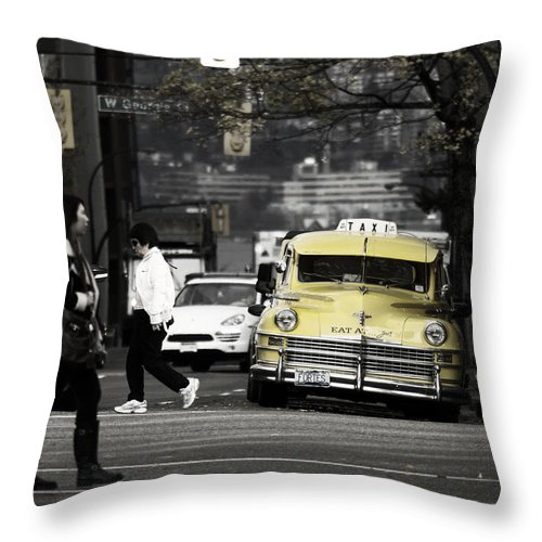 Street Photography Throw Pillow featuring the photograph Cabs Here by The Artist Project